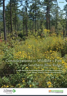 Considerations for Wildlife & Fire in the Southern Blue Ridge book cover.